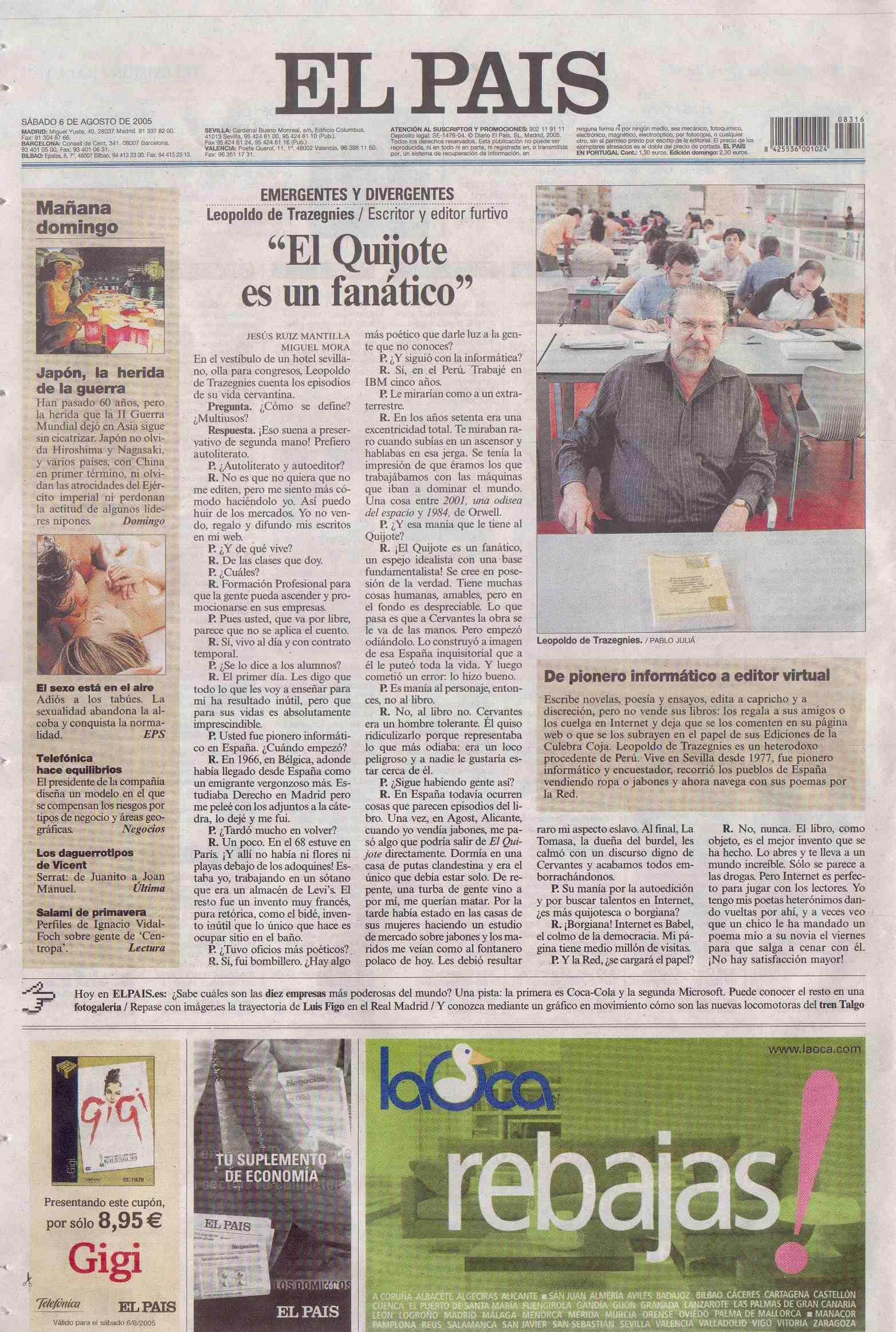 El Pais, sábado 6/8/2005